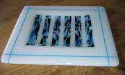 fused glass with pattern bars (260mmL x 230mmW x 10mmH)